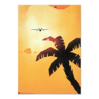 Vintage Airplane Flying Over Hawaii and Palm Tree Invitation