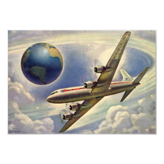 Vintage Airplane Flying World Change of Address 3.5x5 Paper Invitation Card