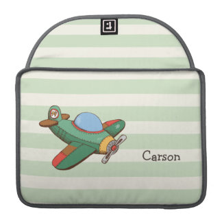 Vintage Airplane on Pastel Green Stripes Sleeve For MacBook Pro