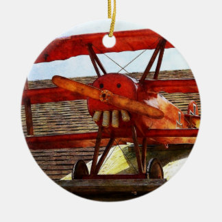Vintage Airplane Double-Sided Ceramic Round Christmas Ornament