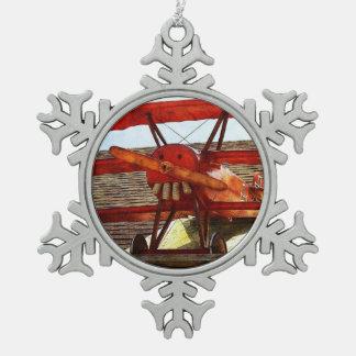 Vintage Airplane Snowflake Pewter Christmas Ornament