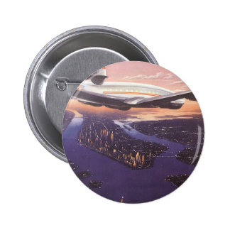 Vintage Airplane over Hudson River, New York City Button