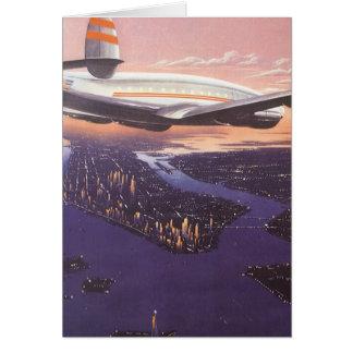 Vintage Airplane over Hudson River New York City Greeting Card
