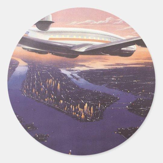 Vintage Airplane over Hudson River, New York City Classic Round Sticker