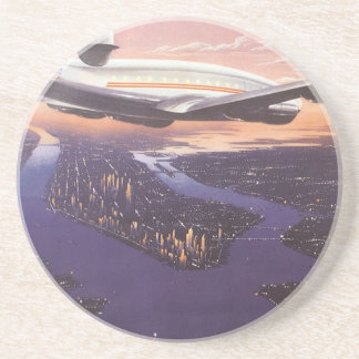 Vintage Airplane over Hudson River, New York City Drink Coaster