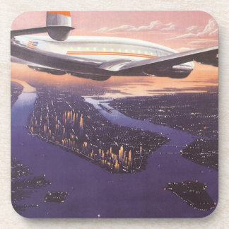 Vintage Airplane over Hudson River, New York City Coaster