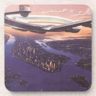 Vintage Airplane over Hudson River, New York City Beverage Coasters