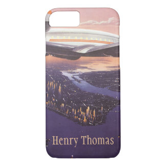 Vintage Airplane over Hudson River, New York City iPhone 7 Case