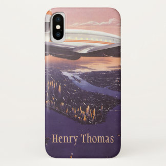 Vintage Airplane over Hudson River, New York City iPhone X Case