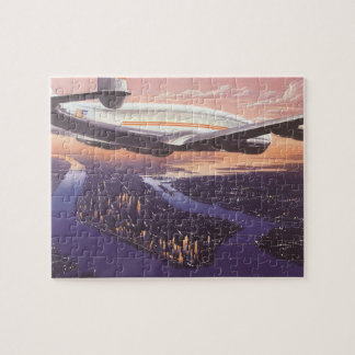 Vintage Airplane over Hudson River, New York City Jigsaw Puzzle