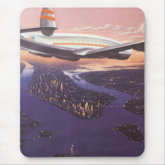 Vintage Airplane over Hudson River New York City Mousepads