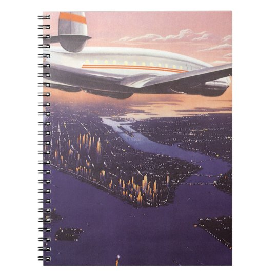 Vintage Airplane over Hudson River, New York City Notebook