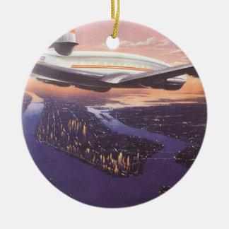Vintage Airplane over Hudson River New York City Christmas Tree Ornaments