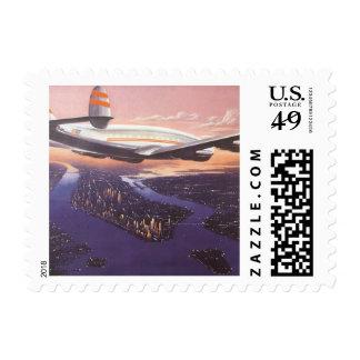 Vintage Airplane over Hudson River, New York City Postage Stamp