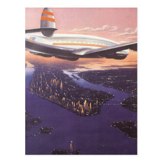 Vintage Airplane over Hudson River New York City Postcards