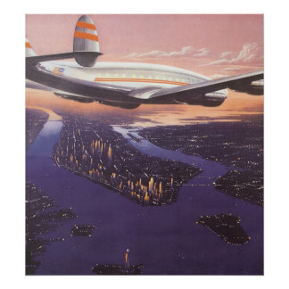 Vintage Airplane over Hudson River New York City Posters
