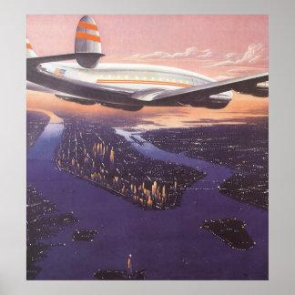 Vintage Airplane over Hudson River, New York City Poster