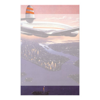 Vintage Airplane over Hudson River, New York City Personalized Stationery