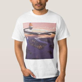 Vintage Airplane over Hudson River, New York City T-Shirt