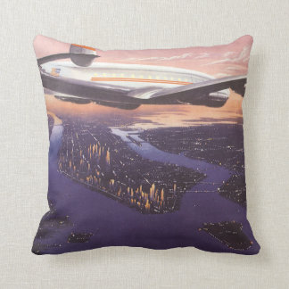 Vintage Airplane over Hudson River, New York City Throw Pillow