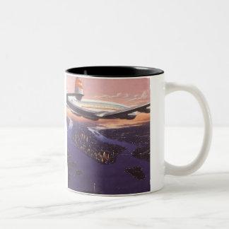 Vintage Airplane over Hudson River, New York City Two-Tone Coffee Mug
