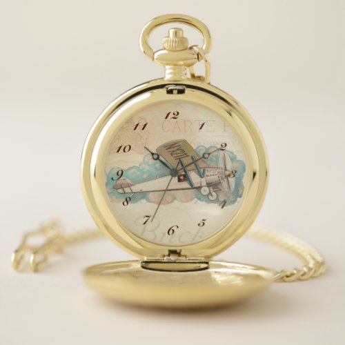 Vintage Airplane. Pocket Watch