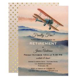 Vintage Airplane Retirement Party Invitation