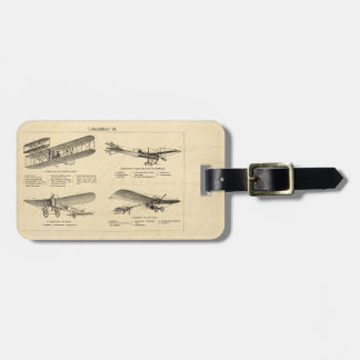 Vintage Airplane Retro Old Biplane Antique Planes Luggage Tag
