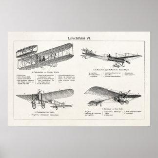 Vintage Airplane Retro Old Biplane Antique Planes Poster