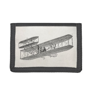 Vintage Airplane Retro Old Biplane Plane Biplanes Tri-fold Wallets