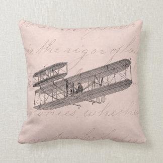 Vintage Airplane Retro Old Biplane Plane Pink Throw Pillow