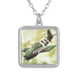 Vintage Airplane Silver Plated Necklace