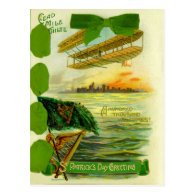 Vintage Airplane St Patrick's Day Card Post Card