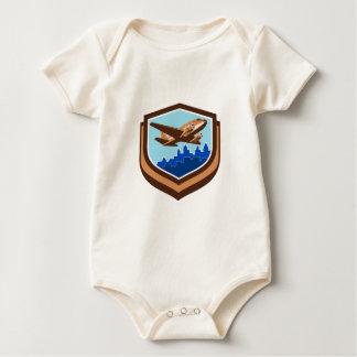 Vintage Airplane Take Off Cityscape Shield Retro Baby Bodysuit