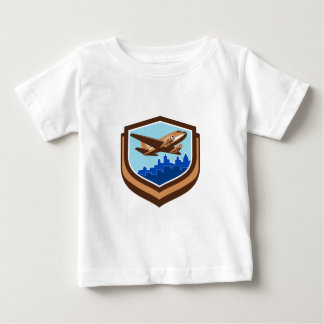 Vintage Airplane Take Off Cityscape Shield Retro Baby T-Shirt