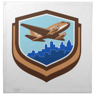 Vintage Airplane Take Off Cityscape Shield Retro Cloth Napkin