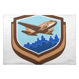 Vintage Airplane Take Off Cityscape Shield Retro Cloth Placemat
