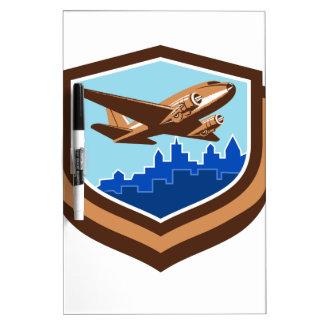 Vintage Airplane Take Off Cityscape Shield Retro Dry Erase Board