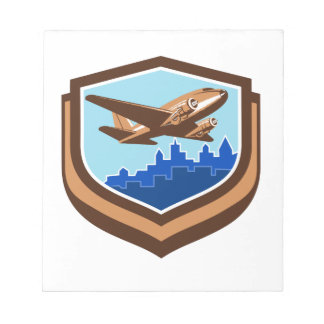 Vintage Airplane Take Off Cityscape Shield Retro Notepad