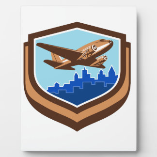 Vintage Airplane Take Off Cityscape Shield Retro Plaque