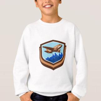 Vintage Airplane Take Off Cityscape Shield Retro Sweatshirt