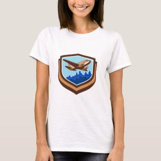 Vintage Airplane Take Off Cityscape Shield Retro T-Shirt