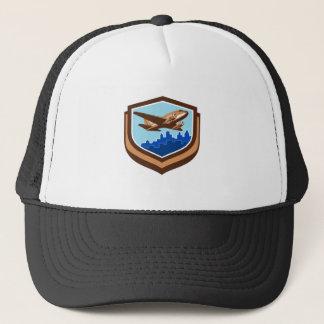 Vintage Airplane Take Off Cityscape Shield Retro Trucker Hat