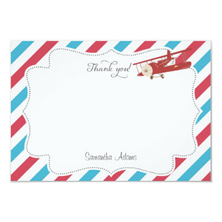 Vintage Airplane Thank You Card