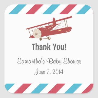 Vintage Airplane Thank You Stickers
