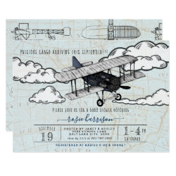 Vintage Airplane | Travel Baby Shower Invitation
