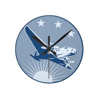 vintage airplane, warm colors round clock
