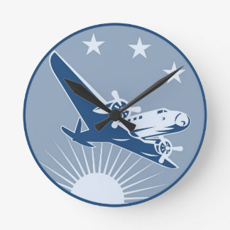 vintage airplane, warm colors round wall clock