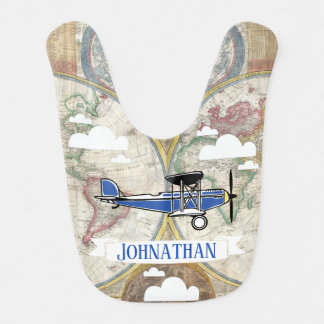 Vintage Airplanes & World Map with Baby's Name Baby Bib