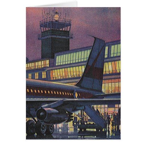 Vintage Airport, Passengers Boarding Airplane Card